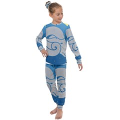 Ram Zodiac Sign Zodiac Moon Star Kids  Long Sleeve Set  by Sudhe