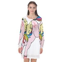 Unicorn Arociris Raimbow Magic Long Sleeve Chiffon Shift Dress  by Sudhe