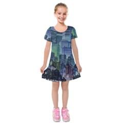 City Night Landmark Kids  Short Sleeve Velvet Dress by Sudhe