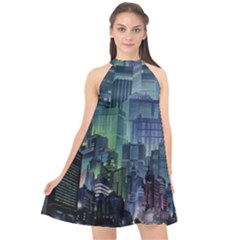 City Night Landmark Halter Neckline Chiffon Dress