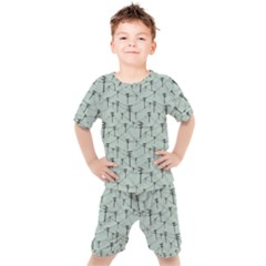 Telephone Lines Repeating Pattern Kids  Tee And Shorts Set by Sudhe