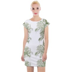 Trees Tile Horizonal Cap Sleeve Bodycon Dress by Sudhe