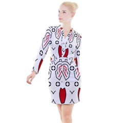 Traditional Art Torajan Pattern Button Long Sleeve Dress
