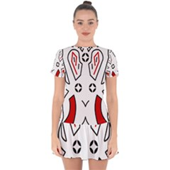Traditional Art Torajan Pattern Drop Hem Mini Chiffon Dress by Sudhe