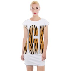 Tiger Bstract Animal Art Pattern Skin Cap Sleeve Bodycon Dress