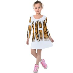 Tiger Bstract Animal Art Pattern Skin Kids  Long Sleeve Velvet Dress by Sudhe