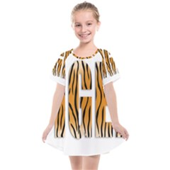 Tiger Bstract Animal Art Pattern Skin Kids  Smock Dress by Sudhe
