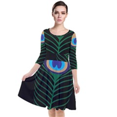 Peacock Feather Quarter Sleeve Waist Band Dress by Sudhe
