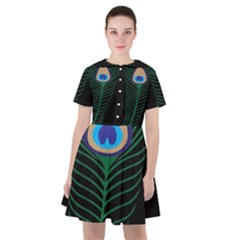 Peacock Feather Sailor Dress by Sudhe