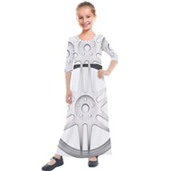 Wheel Skin Cover Kids  Quarter Sleeve Maxi Dress by Sudhe