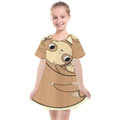 Sloth Kids  Smock Dress by Sudhe