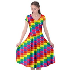 Rainbow 3d Cubes Red Orange Cap Sleeve Wrap Front Dress