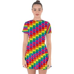 Rainbow 3d Cubes Red Orange Drop Hem Mini Chiffon Dress