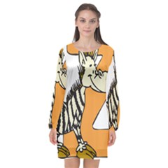 Zebra Animal Alphabet Z Wild Long Sleeve Chiffon Shift Dress