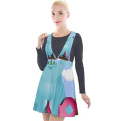 Pig Animal Love Plunge Pinafore Velour Dress by Sudhe