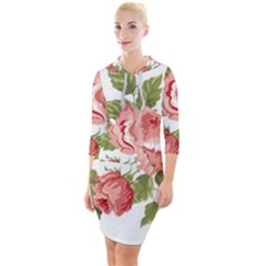 Flower Rose Pink Red Romantic Quarter Sleeve Hood Bodycon Dress