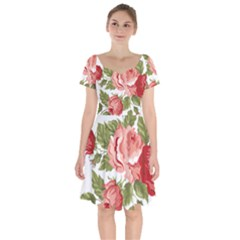 Flower Rose Pink Red Romantic Short Sleeve Bardot Dress by Sudhe