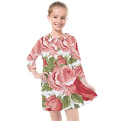 Flower Rose Pink Red Romantic Kids  Quarter Sleeve Shirt Dress by Sudhe