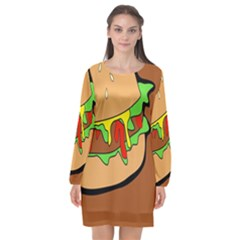 Burger Double Long Sleeve Chiffon Shift Dress