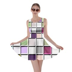 Color Tiles Abstract Mosaic Background Skater Dress