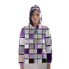 Color Tiles Abstract Mosaic Background Hooded Windbreaker (women) by Sudhe