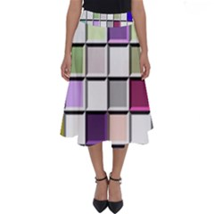 Color Tiles Abstract Mosaic Background Perfect Length Midi Skirt
