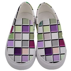 Color Tiles Abstract Mosaic Background Men s Canvas Slip Ons