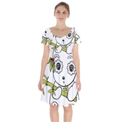 Panda China Chinese Furry Short Sleeve Bardot Dress by Sudhe