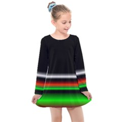 Colorful Neon Background Images Kids  Long Sleeve Dress by Sudhe