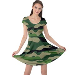 Green Military Vector Pattern Texture Cap Sleeve Dress by Sudhe