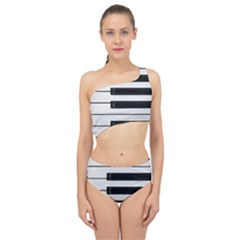 Keybord Piano Spliced Up Two Piece Swimsuit
