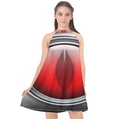 Red Eye Halter Neckline Chiffon Dress  by Sudhe