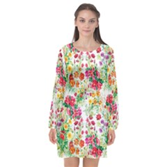 Summer Flowers Long Sleeve Chiffon Shift Dress