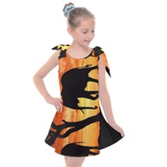 Family Of African Elephants Kids  Tie Up Tunic Dress by Sudhe