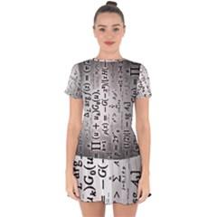Science Formulas Drop Hem Mini Chiffon Dress by Sudhe