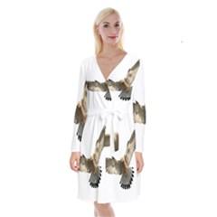 Eagle Long Sleeve Velvet Front Wrap Dress by Sudhe