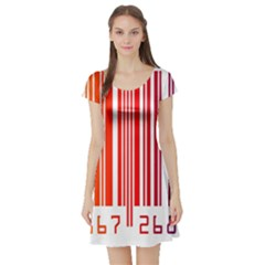 Colorful Gradient Barcode Short Sleeve Skater Dress