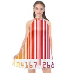 Colorful Gradient Barcode Halter Neckline Chiffon Dress