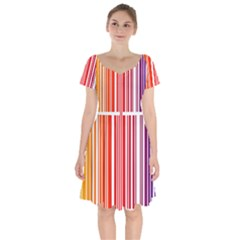 Colorful Gradient Barcode Short Sleeve Bardot Dress