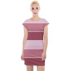 Striped Shapes Wide Stripes Horizontal Geometric Cap Sleeve Bodycon Dress