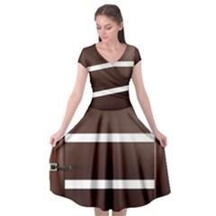 Minimalis Brown Door Cap Sleeve Wrap Front Dress