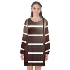 Minimalis Brown Door Long Sleeve Chiffon Shift Dress