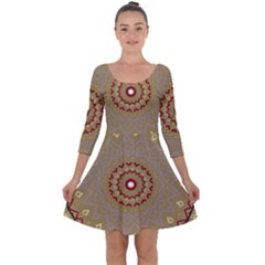 Mandala Art Ornament Pattern Quarter Sleeve Skater Dress