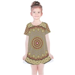 Mandala Art Ornament Pattern Kids  Simple Cotton Dress by Sudhe