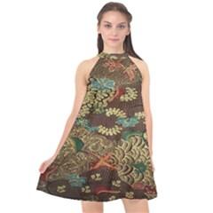 Colorful The Beautiful Of Art Indonesian Batik Pattern Halter Neckline Chiffon Dress