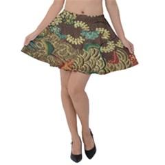 Colorful The Beautiful Of Art Indonesian Batik Pattern Velvet Skater Skirt