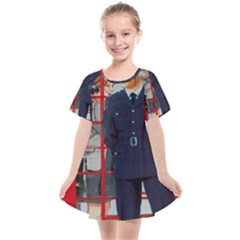 Red London Phone Boxes Kids  Smock Dress by Sudhe