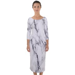 Marble Granite Pattern And Texture Quarter Sleeve Midi Bodycon Dress by Sudhe