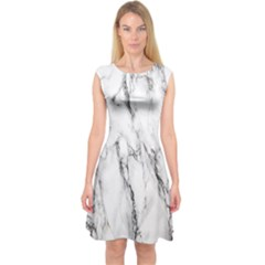 Marble Granite Pattern And Texture Capsleeve Midi Dress by Sudhe