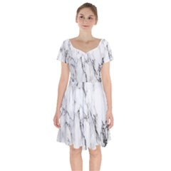 Marble Granite Pattern And Texture Short Sleeve Bardot Dress by Sudhe